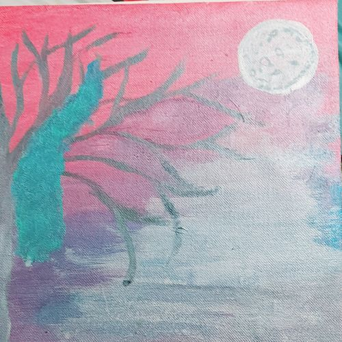 heavenly day, 11 x 11 inch, kshirasamudhbhaviputhra  a,11x11inch,canvas,paintings,abstract paintings,wildlife paintings,landscape paintings,acrylic color,GAL03327146307