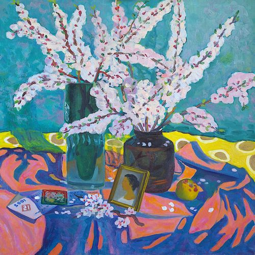 spring still life, 28 x 28 inch, moesey li,flower paintings,paintings for living room,canvas,oil paint,28x28inch,GAL07184633