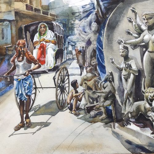 handpulled reaksaw kolkata, 28 x 22 inch, krishna  mondal ,28x22inch,paper,paintings,figurative paintings,cityscape paintings,modern art paintings,conceptual paintings,religious paintings,expressionism paintings,impressionist paintings,photorealism paintings,photorealism,paintings for dining room,paintings for living room,paintings for bedroom,paintings for office,paintings for kids room,paintings for hotel,paintings for kitchen,paintings for school,paintings for hospital,watercolor,GAL03095446334