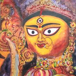 ma durga , kolkata , 11 x 14 inch, krishna  mondal ,11x14inch,paper,paintings,figurative paintings,cityscape paintings,conceptual paintings,religious paintings,portrait paintings,expressionism paintings,illustration paintings,impressionist paintings,photorealism paintings,photorealism,portraiture,realism paintings,realistic paintings,paintings for dining room,paintings for living room,paintings for bedroom,paintings for office,paintings for bathroom,paintings for kids room,paintings for hotel,paintings for kitchen,paintings for school,paintings for hospital,watercolor,GAL03095446336
