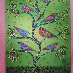 birds on the branch : gond art work , 8 x 12 inch, aditi mukherjee,8x12inch,brustro watercolor paper,paintings,folk art paintings,acrylic color,ink color,GAL03287846338