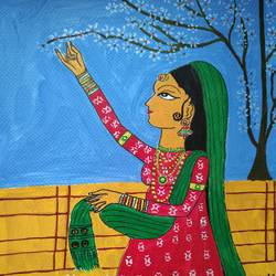 radha plucking flowers, 8 x 12 inch, aditi mukherjee,8x12inch,brustro watercolor paper,paintings,folk art paintings,paintings for dining room,paintings for living room,paintings for bedroom,paintings for office,acrylic color,ink color,GAL03287846340