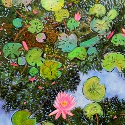 beautiful pond, 16 x 20 inch, amita dand,16x20inch,canvas,paintings,landscape paintings,nature paintings | scenery paintings,paintings for dining room,paintings for living room,paintings for bedroom,paintings for office,paintings for hotel,acrylic color,GAL0146746344