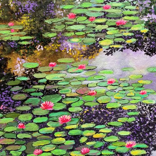 monets garden, 12 x 17 inch, amita dand,12x17inch,handmade paper,paintings,landscape paintings,nature paintings | scenery paintings,paintings for dining room,paintings for living room,paintings for bedroom,paintings for office,paintings for hotel,paintings for hospital,acrylic color,GAL0146746345