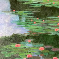 monets garden - 1, 12 x 17 inch, amita dand,12x17inch,handmade paper,paintings,landscape paintings,nature paintings | scenery paintings,paintings for dining room,paintings for living room,paintings for bedroom,paintings for office,paintings for hotel,paintings for hospital,acrylic color,GAL0146746346