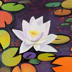 white water lily, 12 x 12 inch, amita dand,12x12inch,canvas,paintings,abstract paintings,flower paintings,modern art paintings,paintings for dining room,paintings for living room,paintings for bedroom,paintings for office,paintings for hotel,acrylic color,pastel color,GAL0146746347
