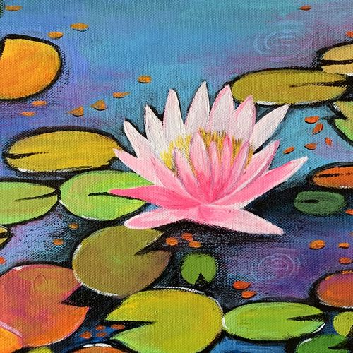 pink water lily, 12 x 12 inch, amita dand,12x12inch,canvas,paintings,flower paintings,paintings for dining room,paintings for living room,paintings for bedroom,paintings for office,paintings for hotel,paintings for dining room,paintings for living room,paintings for bedroom,paintings for office,paintings for hotel,acrylic color,pastel color,GAL0146746348