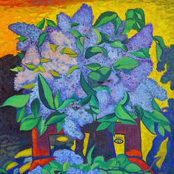 lilac, 24 x 28 inch, moesey li,flower paintings,paintings for living room,canvas,oil paint,24x28inch,GAL07184635