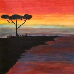 sunset, 26 x 19 inch, komal murthy,landscape paintings,paintings for living room,canvas,acrylic color,26x19inch,GAL016444636