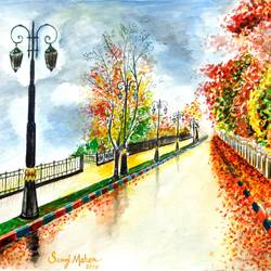 landscape, 16 x 11 inch, saroj meher,paintings for dining room,landscape paintings,canson paper,watercolor,16x11inch,GAL011304637