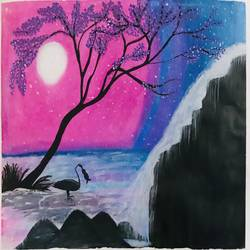 nature's view during nights , 10 x 12 inch, richa sharma,10x12inch,drawing paper,nature paintings   scenery paintings,pastel color,GAL03333146372