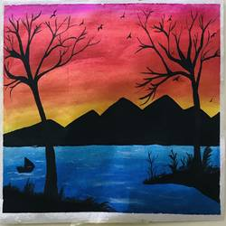 hills and mountains beauty, 10 x 12 inch, richa sharma,10x12inch,canson paper,paintings,abstract paintings,landscape paintings,acrylic color,pastel color,poster color,GAL03333146373