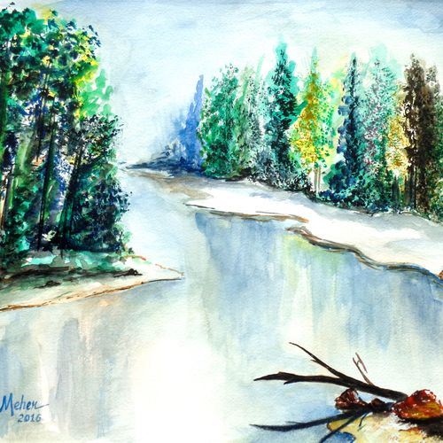 landscape 1, 16 x 11 inch, saroj meher,landscape paintings,paintings for living room,nature paintings,canson paper,watercolor,16x11inch,GAL011304638Nature,environment,Beauty,scenery,greenery
