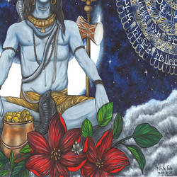 mahadev, 16 x 23 inch, nikita teke,16x23inch,drawing paper,paintings,figurative paintings,religious paintings,lord shiva paintings,paintings for living room,paintings for bedroom,paintings for office,paintings for hotel,paintings for school,paintings for hospital,poster color,GAL03223346380