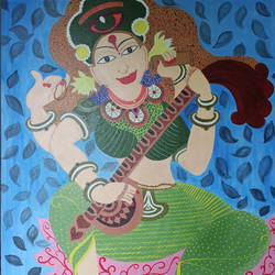 goddess of learning, 24 x 30 inch, sushama mohan,24x30inch,canvas board,religious paintings,kerala murals painting,paintings for dining room,paintings for living room,paintings for office,paintings for hotel,paintings for school,paintings for hospital,paintings for dining room,paintings for living room,paintings for office,paintings for hotel,paintings for school,paintings for hospital,acrylic color,GAL03334446386