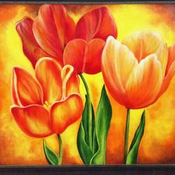 blooming tulips, 24 x 20 inch, nidhi agarwal,24x20inch,canvas,paintings,flower paintings,paintings for dining room,paintings for living room,paintings for office,paintings for hotel,paintings for school,acrylic color,GAL03334546388
