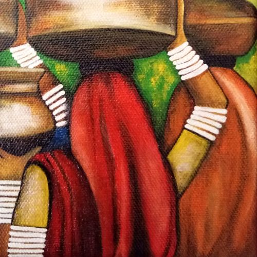 morning in rura india, 6 x 6 inch, nidhi agarwal,6x6inch,canvas,paintings,figurative paintings,folk art paintings,paintings for living room,paintings for office,paintings for hotel,acrylic color,GAL03334546391