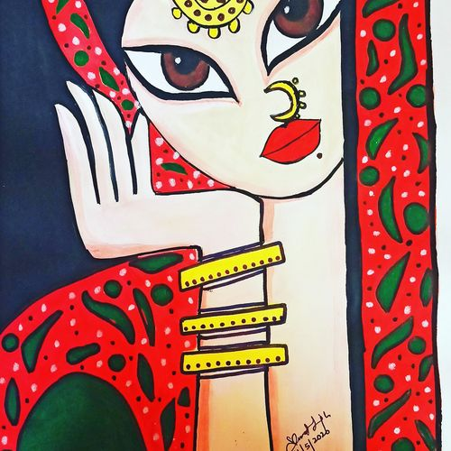 lady waiting for someone, 10 x 12 inch, shweta saxena,10x12inch,thick paper,figurative paintings,watercolor,paper,GAL03332646395