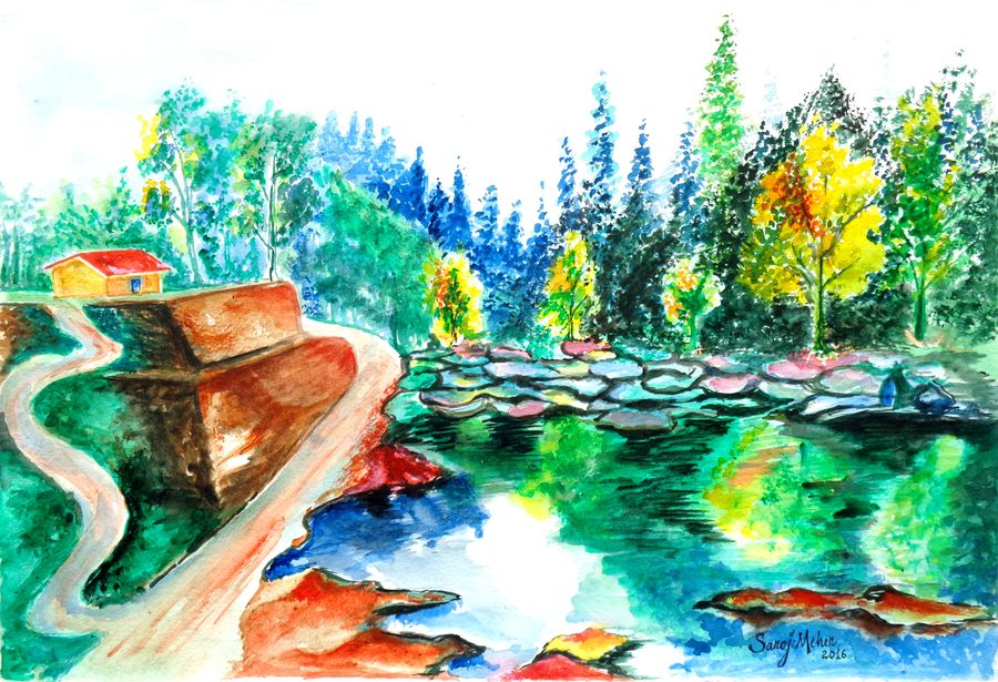 landscape 3, 16 x 11 inch, saroj meher,landscape paintings,paintings for living room,nature paintings,canson paper,watercolor,16x11inch,GAL011304640Nature,environment,Beauty,scenery,greenery