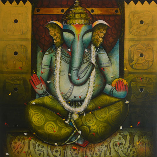 ganesha 25, 48 x 54 inch, anupam  pal,48x54inch,canvas,abstract paintings,wildlife paintings,figurative paintings,folk art paintings,cityscape paintings,landscape paintings,modern art paintings,multi piece paintings,conceptual paintings,religious paintings,portrait paintings,nature paintings   scenery paintings,tanjore paintings,abstract expressionism paintings,art deco paintings,cubism paintings,dada paintings,expressionism paintings,impressionist paintings,pop art paintings,portraiture,realism paintings,street art,surrealism paintings,ganesha paintings   lord ganesh paintings,animal paintings,realistic paintings,love paintings,horse paintings,mother teresa paintings,dog painting,elephant paintings,lord shiva paintings,kalighat painting,phad painting,paintings for dining room,paintings for living room,paintings for bedroom,paintings for office,paintings for bathroom,paintings for kids room,paintings for hotel,paintings for kitchen,paintings for school,paintings for hospital,paintings for dining room,paintings for living room,paintings for bedroom,paintings for office,paintings for bathroom,paintings for kids room,paintings for hotel,paintings for kitchen,paintings for school,paintings for hospital,acrylic color,GAL08246400