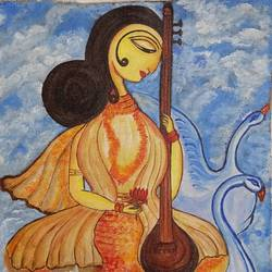 goddess of knowledge and culture (maa saraswati), 14 x 18 inch, paramita goswami,14x18inch,canvas,paintings,religious paintings,paintings for dining room,paintings for living room,paintings for bedroom,paintings for office,paintings for kids room,acrylic color,GAL03271846415