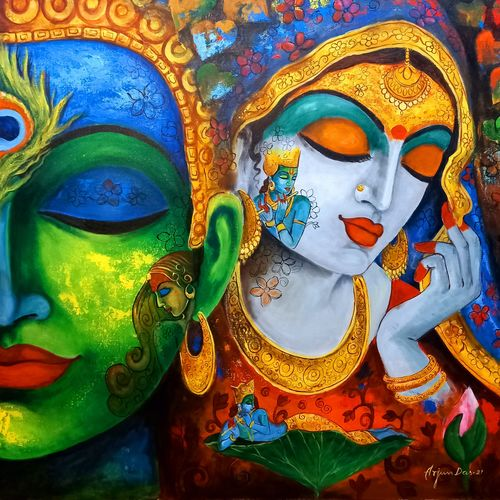 devotion of krishna 10, 36 x 36 inch, arjun das,36x36inch,canvas,paintings,religious paintings,impressionist paintings,radha krishna paintings,paintings for dining room,paintings for living room,paintings for office,paintings for hotel,acrylic color,GAL011246420