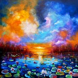 beauty of nature 2, 36 x 36 inch, arjun das,36x36inch,canvas,paintings,flower paintings,nature paintings   scenery paintings,paintings for dining room,paintings for living room,paintings for bedroom,paintings for office,paintings for bathroom,paintings for kids room,paintings for hotel,paintings for school,paintings for hospital,acrylic color,GAL011246422