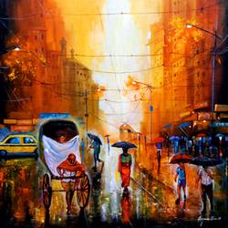 rainy day in kolkata, 30 x 30 inch, arjun das,30x30inch,canvas,paintings,cityscape paintings,contemporary paintings,paintings for dining room,paintings for living room,paintings for bedroom,paintings for office,paintings for bathroom,paintings for kids room,paintings for hotel,paintings for kitchen,paintings for school,paintings for hospital,acrylic color,GAL011246424