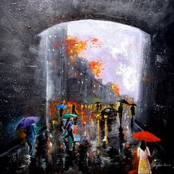 rainy day 1, 30 x 30 inch, arjun das,30x30inch,canvas,paintings,cityscape paintings,street art,contemporary paintings,paintings for dining room,paintings for living room,paintings for bedroom,paintings for office,paintings for kids room,paintings for hotel,paintings for school,paintings for hospital,acrylic color,GAL011246425