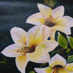 white flowers , 8 x 11 inch, karishma  shah,8x11inch,canvas,paintings,flower paintings,acrylic color,GAL03011446430