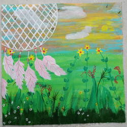 dream catcher, 14 x 14 inch, sushama mohan,14x14inch,canvas,paintings,flower paintings,nature paintings   scenery paintings,paintings for bedroom,paintings for office,paintings for hotel,paintings for hospital,acrylic color,GAL03334446436