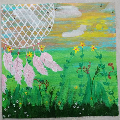 dream catcher, 14 x 14 inch, sushama mohan,14x14inch,canvas,paintings,flower paintings,nature paintings | scenery paintings,paintings for bedroom,paintings for office,paintings for hotel,paintings for hospital,acrylic color,GAL03334446436