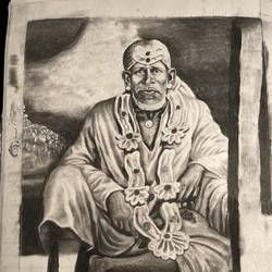 sai baba of shirdi , 8 x 11 inch, rohanbaba polekar,8x11inch,drawing paper,drawings,portrait drawings,paintings for dining room,paintings for living room,paintings for office,paintings for kitchen,charcoal,pastel color,graphite pencil,paper,GAL03342246438