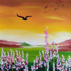 lavender fields, 10 x 12 inch, divya bhagat,10x12inch,canvas,paintings,abstract paintings,flower paintings,landscape paintings,nature paintings   scenery paintings,illustration paintings,contemporary paintings,paintings for dining room,paintings for living room,paintings for bedroom,paintings for office,paintings for bathroom,paintings for kids room,paintings for hotel,paintings for kitchen,paintings for school,paintings for hospital,acrylic color,GAL0610346442