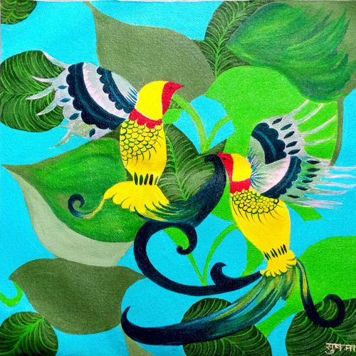 yellow birds, 14 x 14 inch, sushama mohan,14x14inch,canvas,paintings,nature paintings | scenery paintings,paintings for dining room,paintings for living room,paintings for bedroom,paintings for office,paintings for hotel,paintings for hospital,acrylic color,GAL03334446460