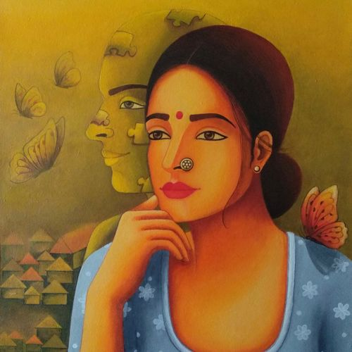 elakshi series of woman -enigma, 20 x 30 inch, anjali  surana,20x30inch,canvas,paintings,acrylic color,GAL03088146465