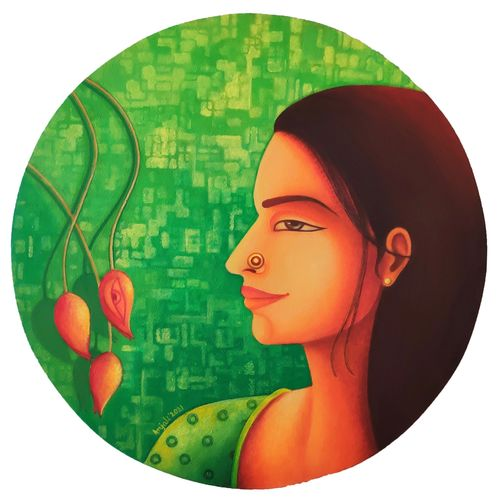 elakshi series of woman -peace, 20 x 20 inch, anjali  surana,20x20inch,canvas,paintings,figurative paintings,expressionism paintings,love paintings,paintings for dining room,paintings for living room,paintings for bedroom,paintings for office,paintings for kids room,paintings for hotel,paintings for kitchen,paintings for hospital,acrylic color,GAL03088146466