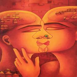 the kiss, 12 x 16 inch, anjali  surana,12x16inch,thick paper,paintings,acrylic color,GAL03088146469