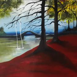 serene beauty, 17 x 13 inch, divya s,nature paintings,paintings for living room,cartridge paper,oil,17x13inch,GAL016434648Nature,environment,Beauty,scenery,greenery,trees,bridge,branches
