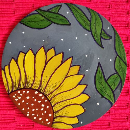 sunflower rise, 6 x 6 inch, hezil noronha,6x6inch,hardboard,paintings,abstract paintings,flower paintings,modern art paintings,art deco paintings,minimalist paintings,paintings for dining room,paintings for living room,paintings for bedroom,paintings for office,paintings for bathroom,paintings for kids room,paintings for hotel,paintings for kitchen,paintings for school,paintings for hospital,acrylic color,pen color,GAL03345446484