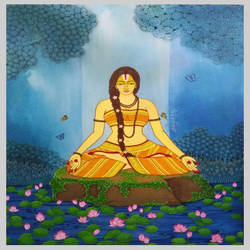 yogini and nature, 36 x 48 inch, gitanjali sahoo,36x48inch,canvas,paintings,figurative paintings,folk art paintings,expressionism paintings,acrylic color,GAL03345646492