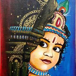 natkhat gopal- lord krishna in acrylics, 10 x 12 inch, shreyashi das,10x12inch,canvas board,paintings,abstract paintings,buddha paintings,folk art paintings,modern art paintings,conceptual paintings,religious paintings,portrait paintings,art deco paintings,expressionism paintings,illustration paintings,impressionist paintings,pop art paintings,portraiture,surrealism paintings,ganesha paintings | lord ganesh paintings,radha krishna paintings,contemporary paintings,realistic paintings,love paintings,baby paintings,children paintings,kids paintings,paintings for living room,paintings for bedroom,paintings for office,paintings for kids room,paintings for hotel,paintings for school,paintings for hospital,acrylic color,GAL01764546499