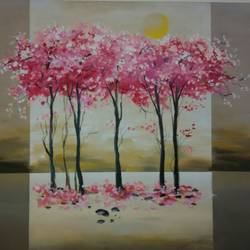 tree1, 24 x 30 inch, sushil  tarbar ,modern art paintings,paintings for living room,canvas,acrylic color,24x30inch,GAL0144465