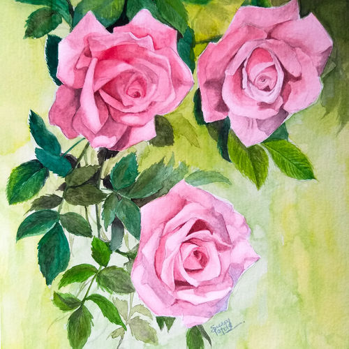 roses for love , 8 x 12 inch, suraj patole,8x12inch,handmade paper,paintings,flower paintings,art deco paintings,illustration paintings,photorealism paintings,photorealism,pop art paintings,realism paintings,love paintings,paintings for living room,paintings for bedroom,paintings for office,paintings for hotel,paintings for school,watercolor,GAL03334146502