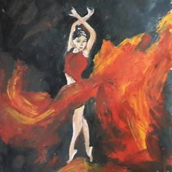 red hot, 13 x 16 inch, divya s,modern art paintings,paintings for living room,cartridge paper,oil,13x16inch,GAL016434651