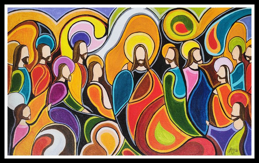 Last supper abstract painting