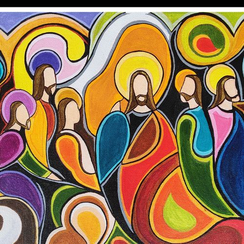 last supper abstract painting, 16 x 10 inch, kalamandalam anu  sreehari,16x10inch,canvas,paintings,abstract paintings,religious paintings,paintings for living room,paintings for office,paintings for kids room,paintings for hotel,paintings for school,paintings for hospital,acrylic color,GAL03346446510