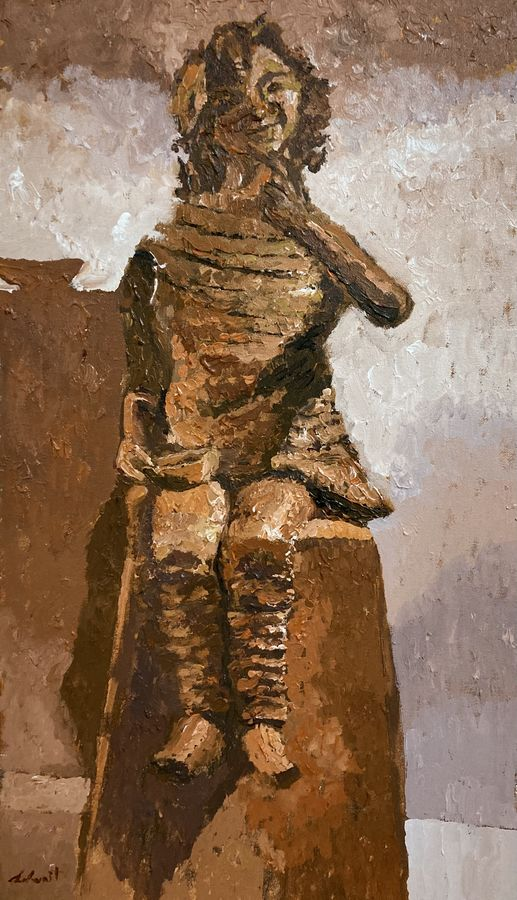 Mud statue of a girl