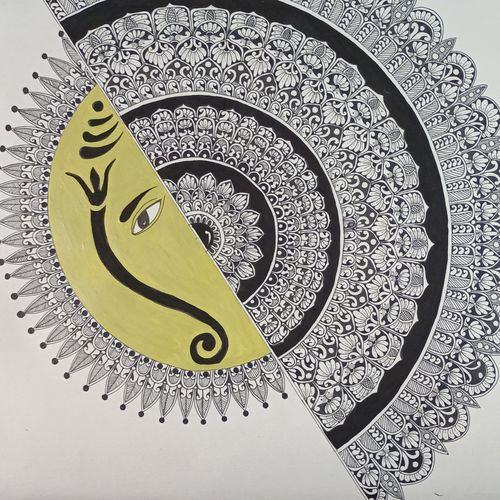 lord ganesh  mandala, 18 x 15 inch, vidhya sri,18x15inch,thick paper,drawings,fine art drawings,paintings for dining room,paintings for living room,paintings for office,paintings for hotel,pen color,poster color,GAL03317646516