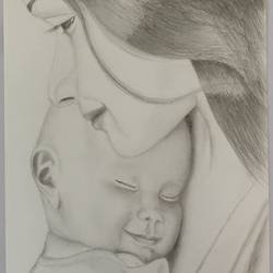 mom and baby, 8 x 11 inch, samuel manda,8x11inch,drawing paper,drawings,kids drawings,paintings for bedroom,paintings for hospital,graphite pencil,GAL01224746522